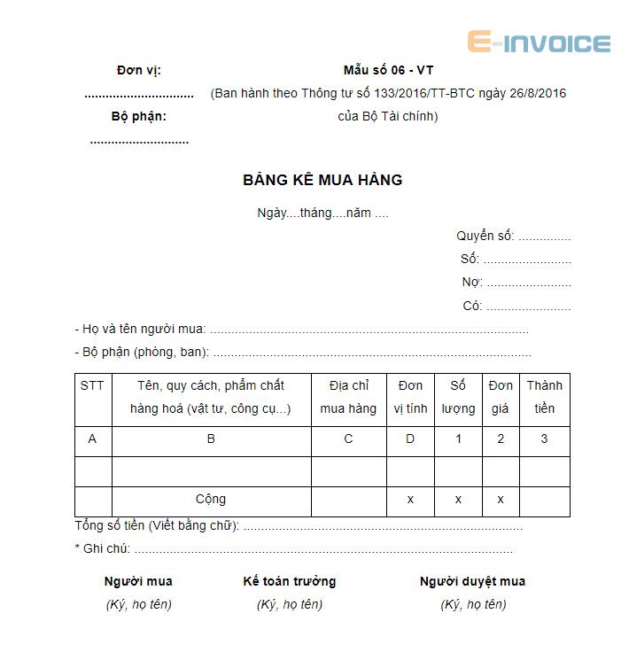 mẫu bảng kê mua hàng số 06 theo thông tư 133/2016/TT-BTC