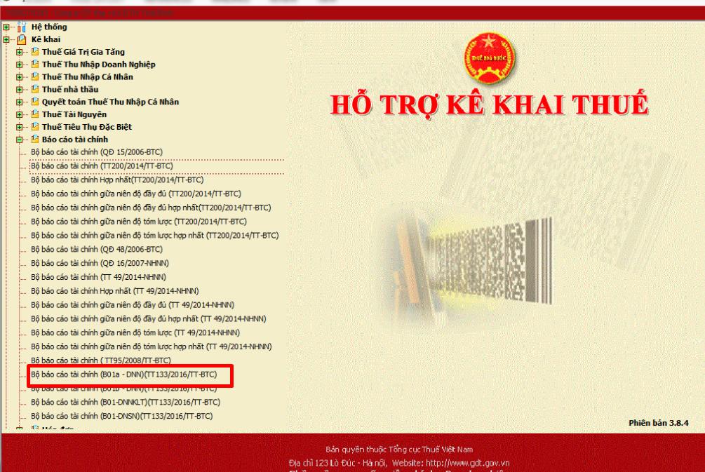 Bộ báo cáo tài chính trên phần mềm htkk