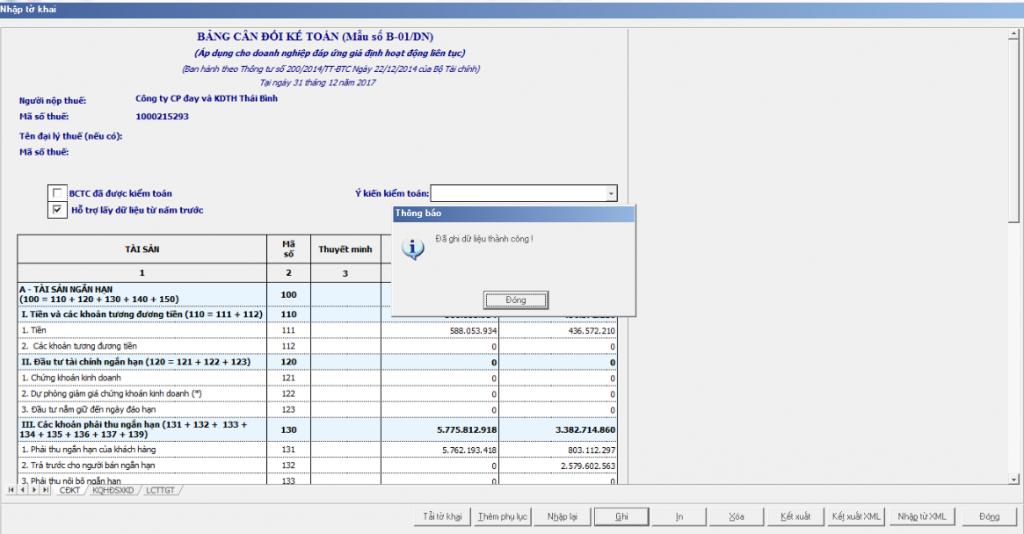 Hoàn thành lập báo cáo tài chính trên phần mềm HTKK