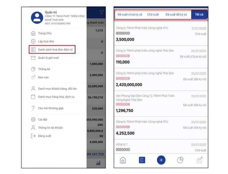 Xem danh sách hóa đơn trên app mobile Einvoice