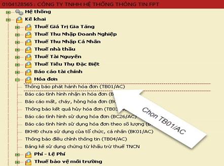 Nộp thông báo phát hành hóa đơn điện tử trên phần mềm HTKK