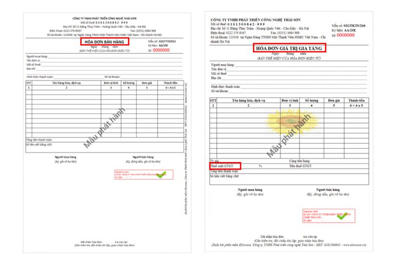 Hóa đơn bán hàng và hóa đơn gtgt